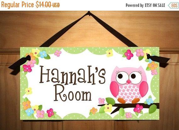 DOOR SIGN Owls Love Flowers Girls Bedroom and Baby Nursery Kids