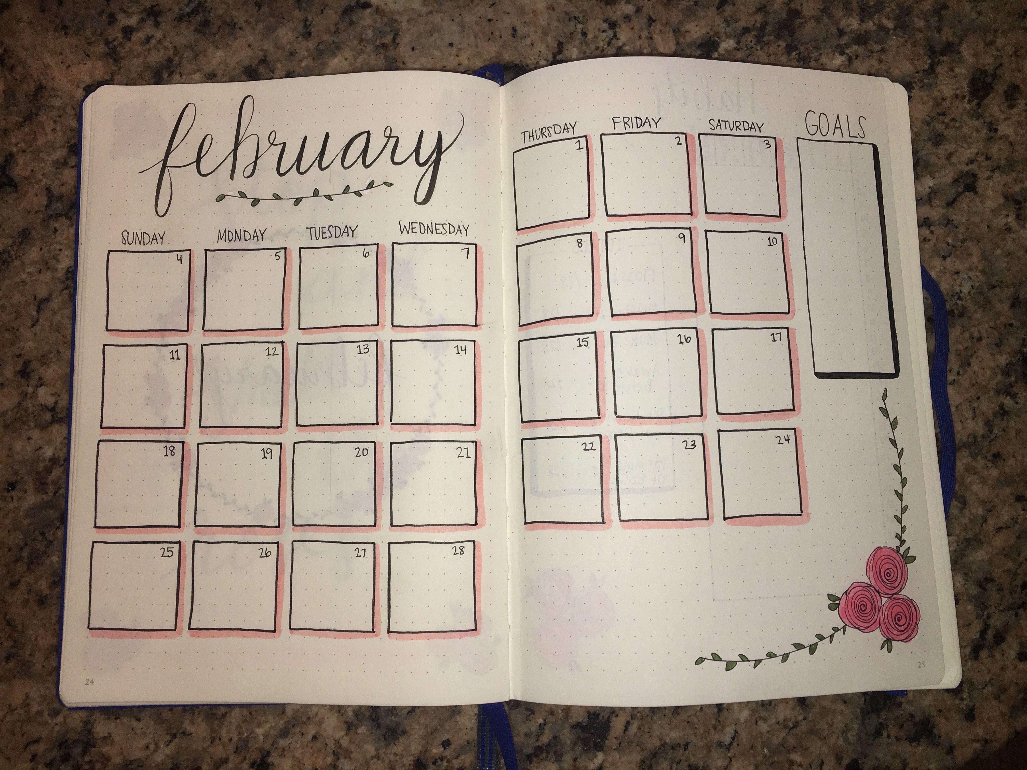 february 208 rose themed calendar  bulletjournal