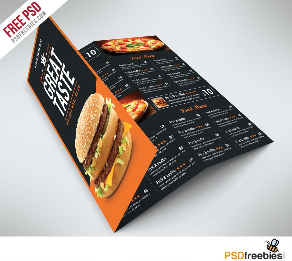 fast food menu trifold brochure psd this psd fast food menu trifold brochure psd this psd template is perfectly suitable for