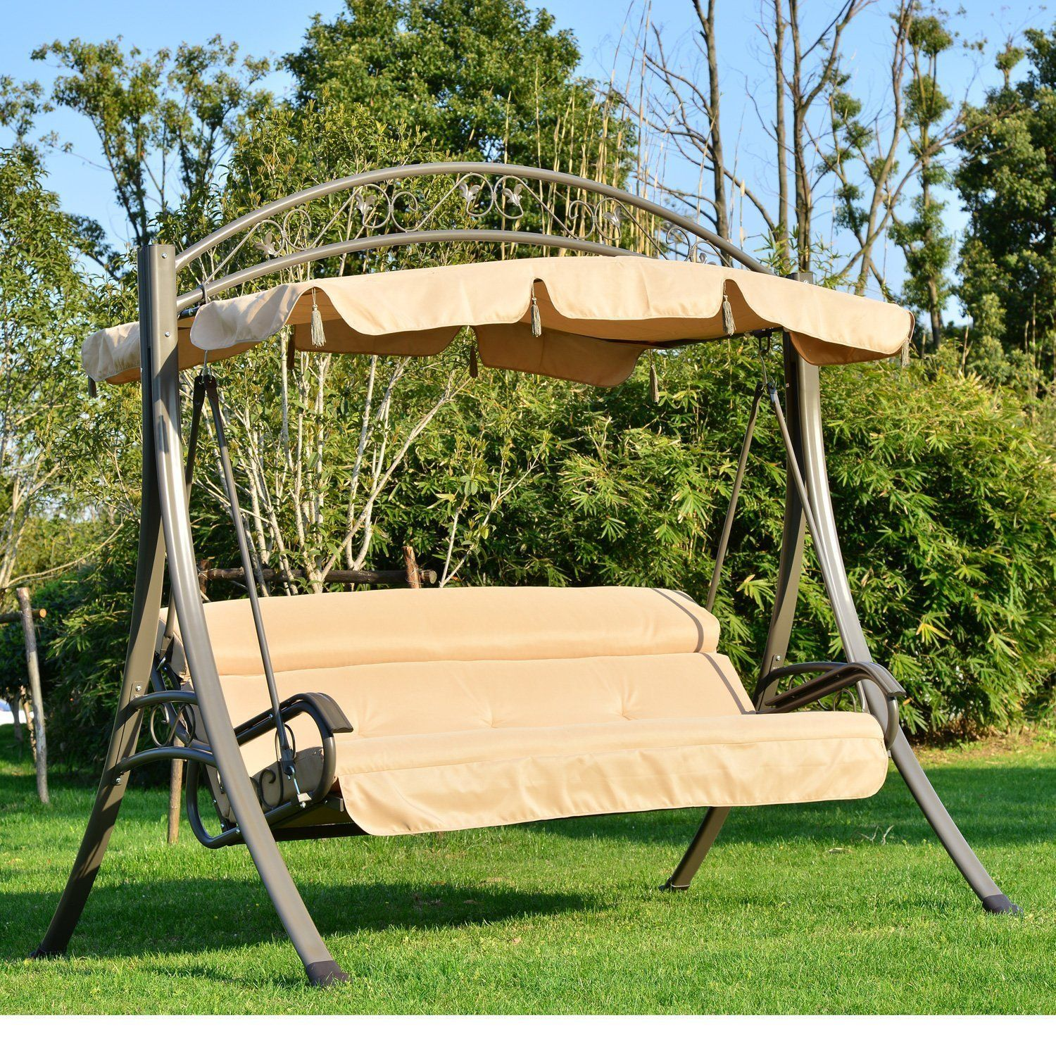 Outsunny 3 Seater Outdoor Garden Patio Metal Swing Chair Swinging