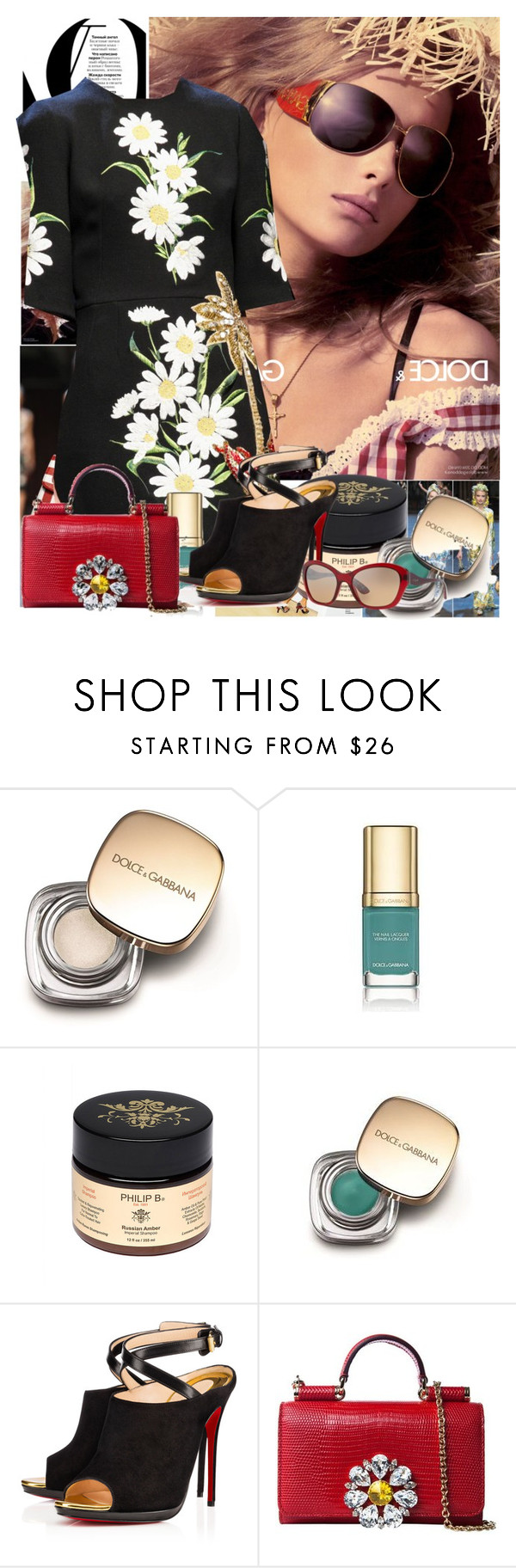 """""""Untitled 1468"""" by ceca-66 ❤ liked on Polyvore featuring Claudia Schiffer, Dolce&Gabbana, Philip B, Christian Louboutin and Vogue"""