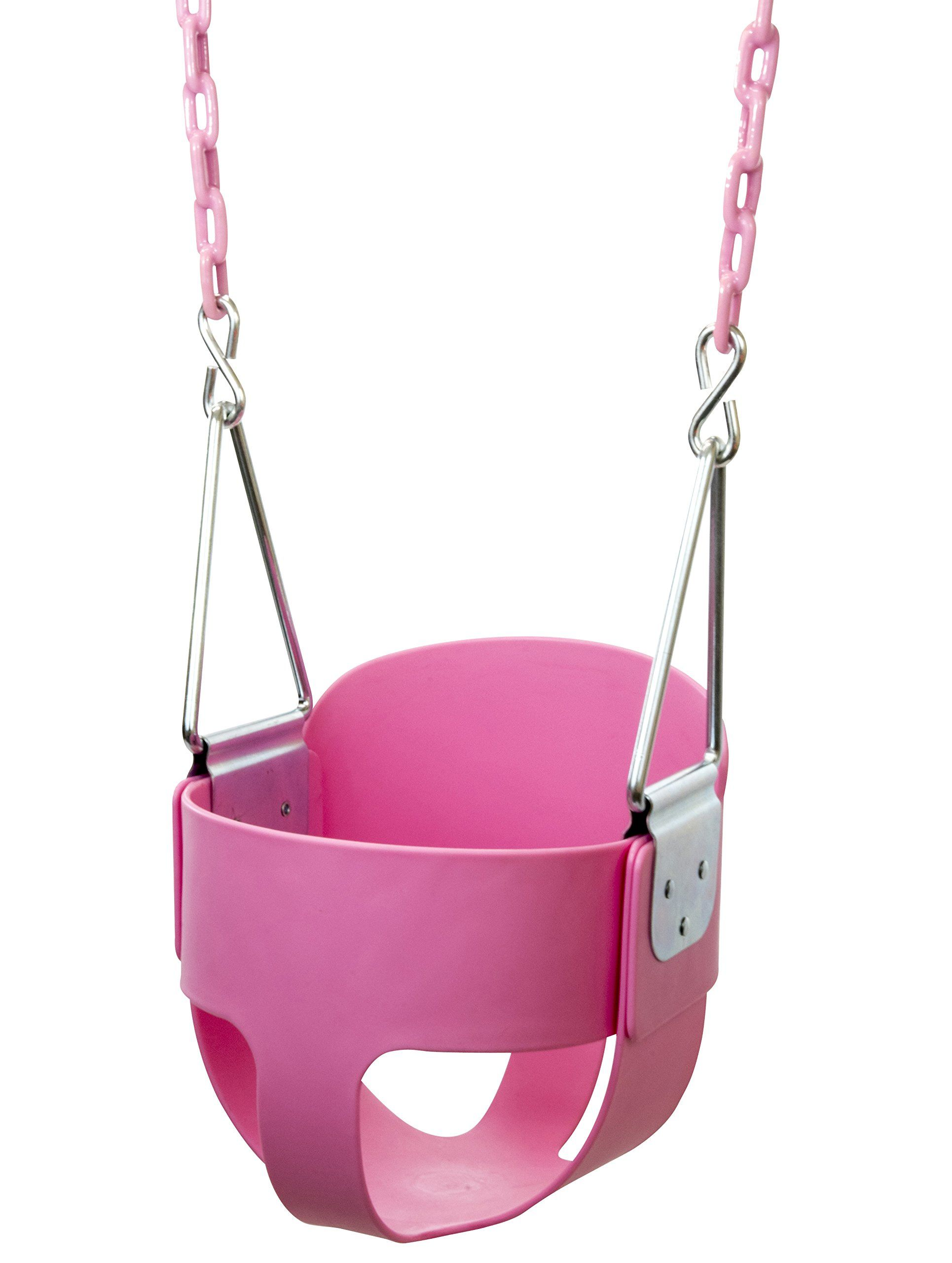 with pink full coated detail toddler seat bucket high back swing plastic chains set product