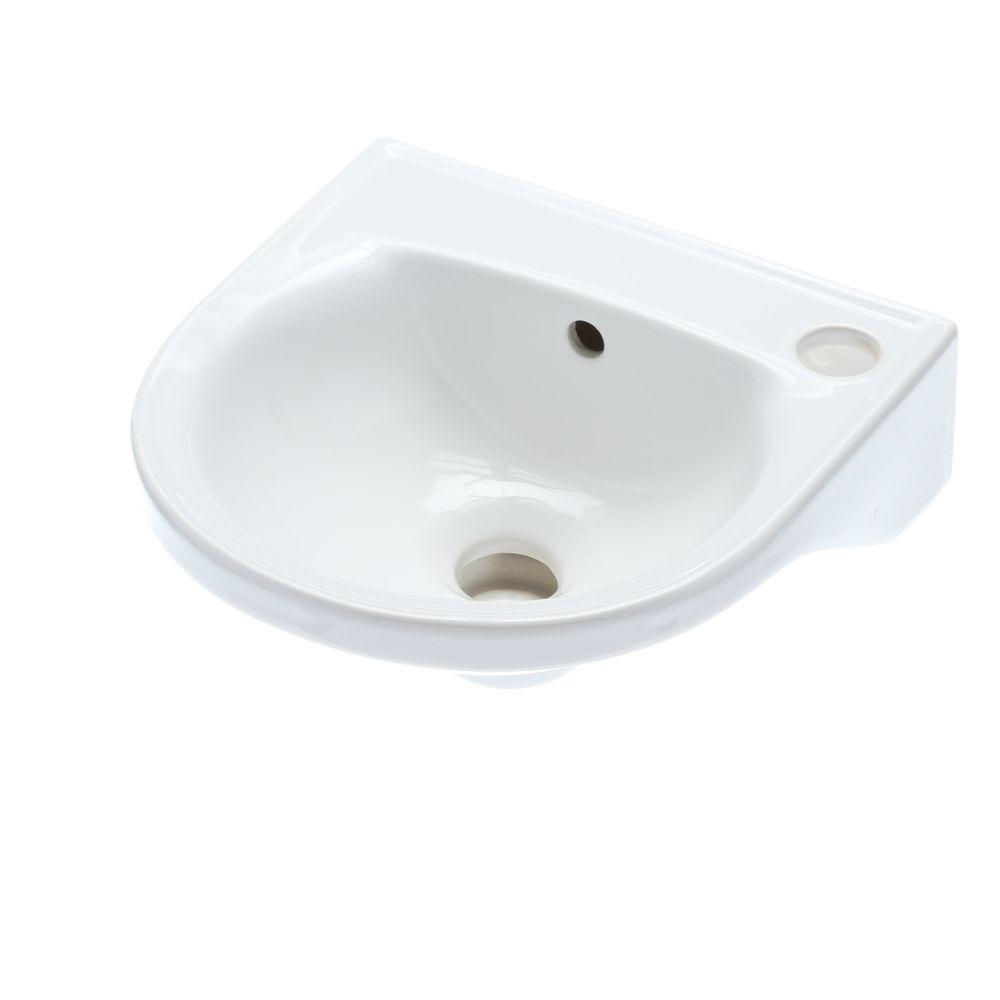 Rosanna Wall Mounted Bathroom Sink In White 4 521wh The Home Depot Wall Mounted Bathroom Sinks Tiny Bathroom Sink Sink [ 1000 x 1000 Pixel ]