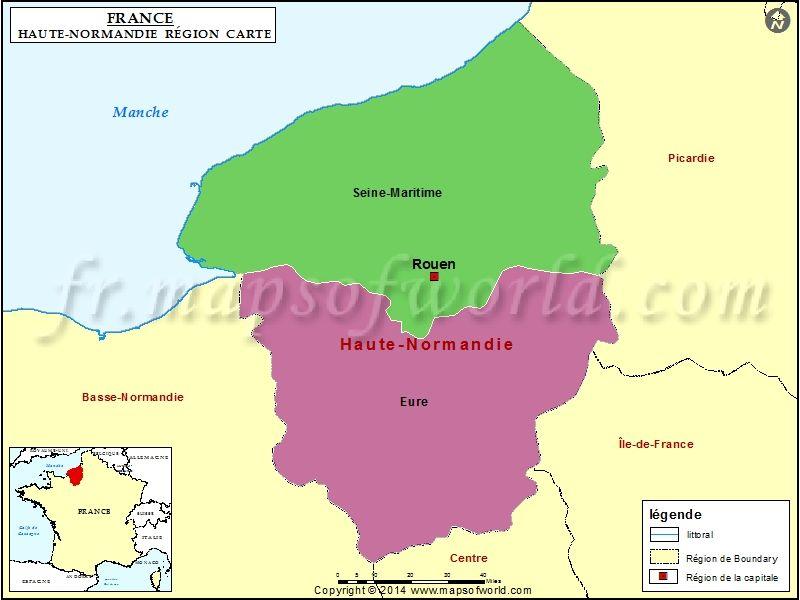 Carte De Haute Normandie Map France Normandy