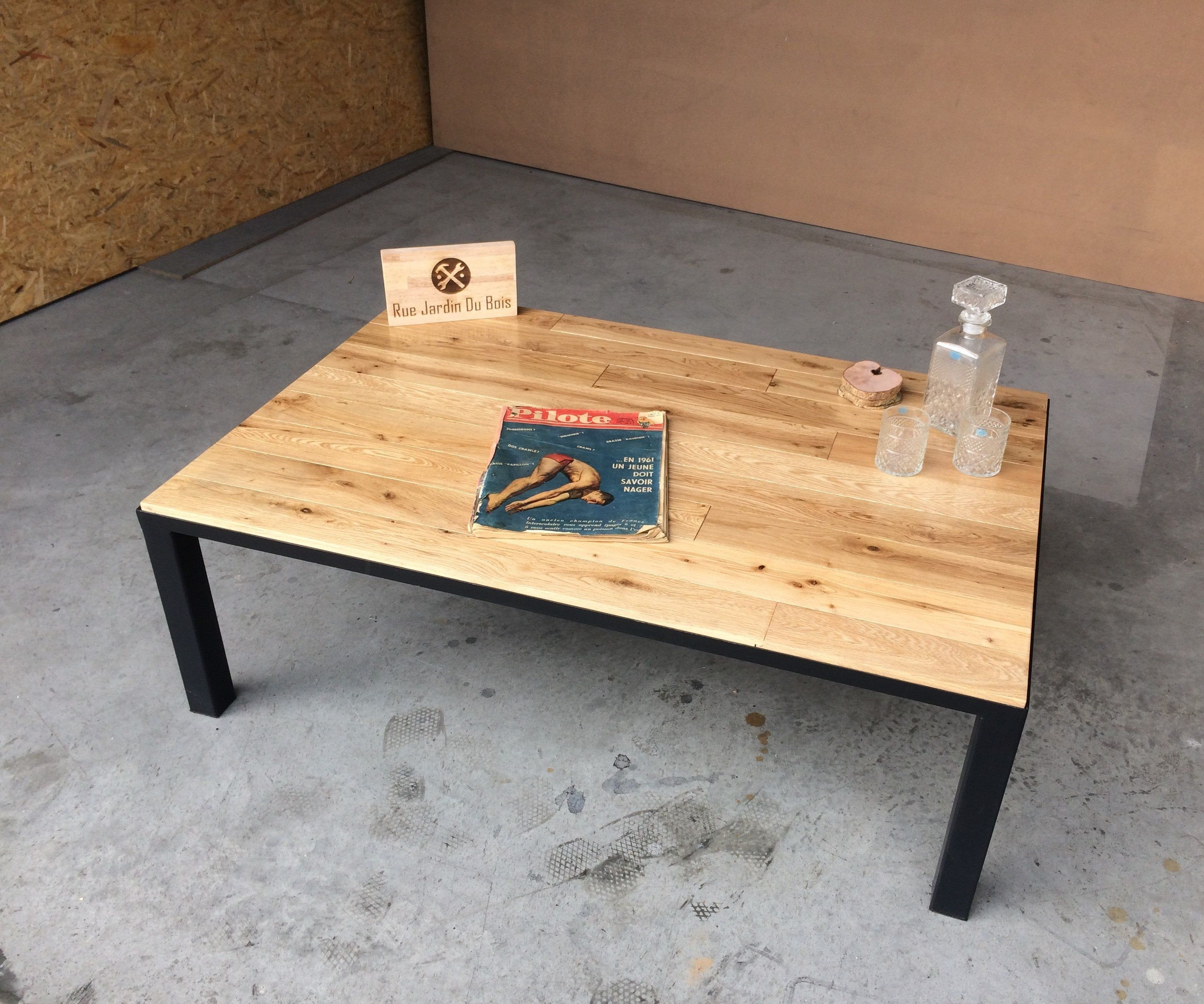 Table Basse Chene Massif Et Metal Pallet Table Decor Table