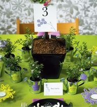 possible garden themed bridal shower favors with wedding colors of course