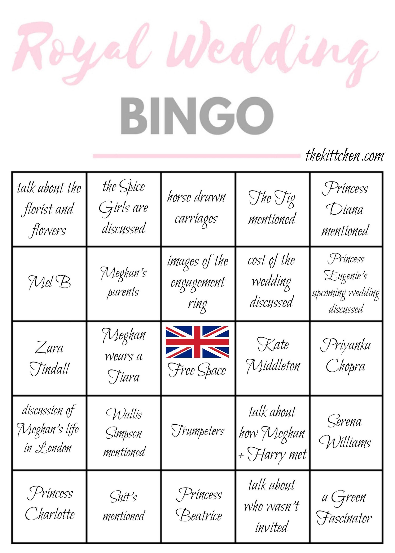 72274a75a Royal Wedding Games, Wedding Bingo, Royal Wedding Harry, Harry And Meghan  Wedding,