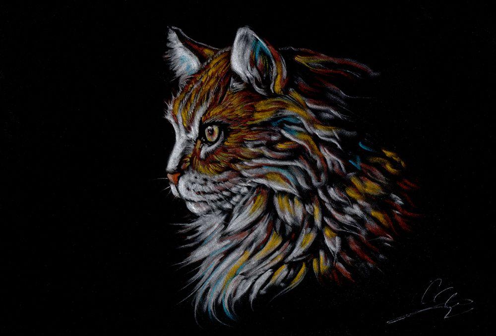 """Titel; Cittecat. Pastel on velour paper, size A3, December 2015,... Så er den færdig...:)( Kunne simpelt hen ikke lade være med, at tegne denne Norske skov kat, den havde simpelthen de flotteste pels....og jeg elsker, at tegne pels især med mine pasteller på velour papir, der efter min mening """"ligger lige til højre benet"""" til, at tegne pels på, da papiret ...er som navnet siger fløjs blød og hårene tegner næsten af sig selv)..men, bedøm selv om 3 timers indsats på dette område lønner…"""