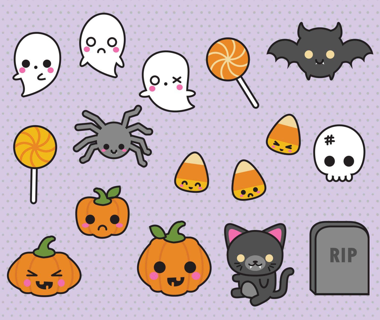 Cute Halloween Decorations Pinterest: Kawaii Halloween Clipart
