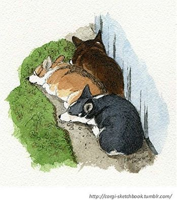 "corgi-sketchbook: "" Another one from last year. Our sweet Corgs taking it easy outside. I have some other pieces in the works, but might not post every week for a little while. I'll try though! """