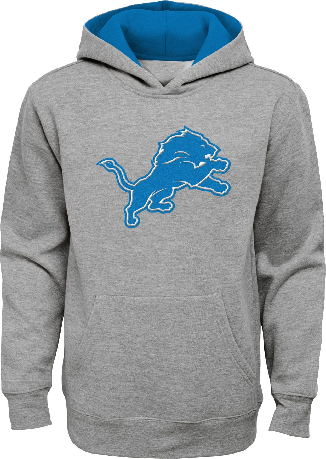 a085dc7f0b8 NFL Team Apparel Youth Detroit Lions Prime Grey Pullover Hoodie ...