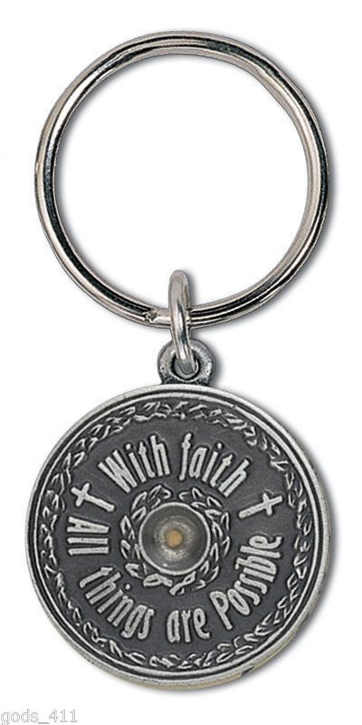 Genuine Mustard Seed Pewter Keychain With Faith All Things Are Possible http://stores.ebay.com/Gods-411