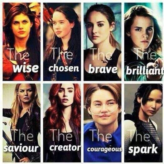 Annabeth Chase, Susam Pevensie, Tris Prior, Hermione Granger, Emma Swan, Clary Fray, Hazel Lancaster, Katniss Everdeen