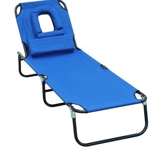 Ordinaire Outsunny Folding Face Down Beach Sun Bathing Tanning Lounger Lounge Chair    Blue