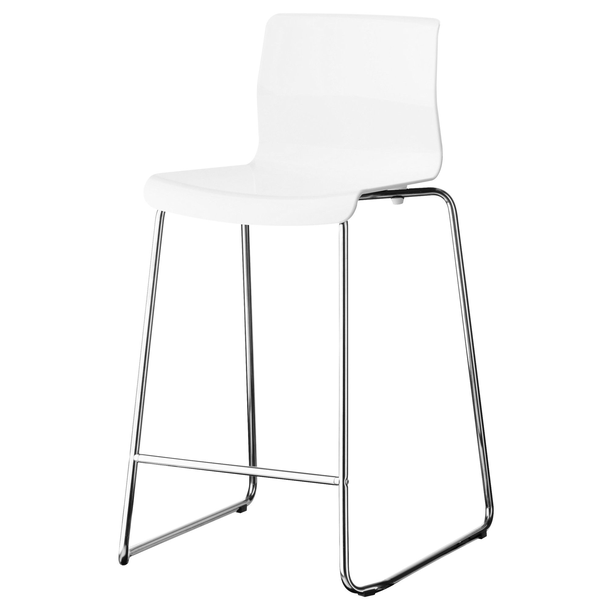 IKEA GLENN White, Chrome Plated Bar stool | White bar stools ...