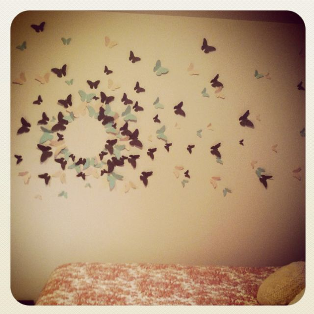 DIY Butterfly Wall Art! 1. Cut out butterfly shapes (much easier if ...