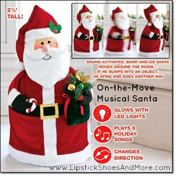 """On-the-Move Musical Santa! This is an Avon Exclusive item! Inflatable Santa comes with pump to inflate. 30"""" H x 16"""" W x 11"""" D. Uses 4 AA batteries (not included). Made of polyester & plastic. Item#: 049743 Price: $39.99"""
