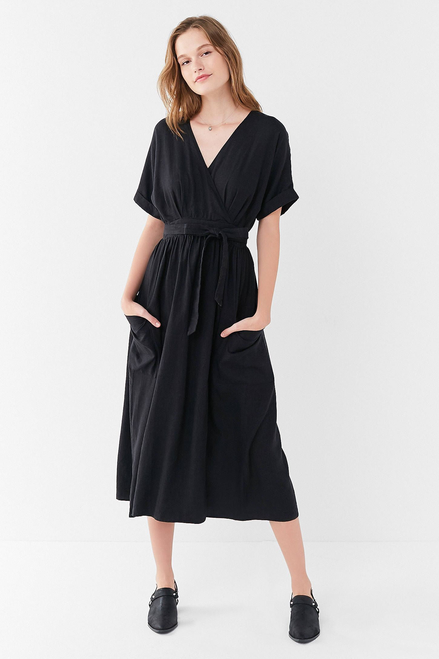 7192b0be0e Shop UO Gabrielle Linen Midi Wrap Dress at Urban Outfitters today. We carry  all the latest styles