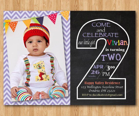 Second Birthday Invitation Chalkboard 2nd Invite With Photo Chevron Baby Boy Or Girl Blu