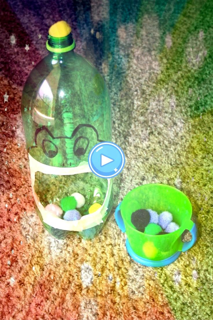 Pompom Drop  made from empty soda bottle Use it to develop fine motor Froggie Pompom Drop  made from empty soda bottle Use it to develop fine motorFroggie Pompom Drop  ma...