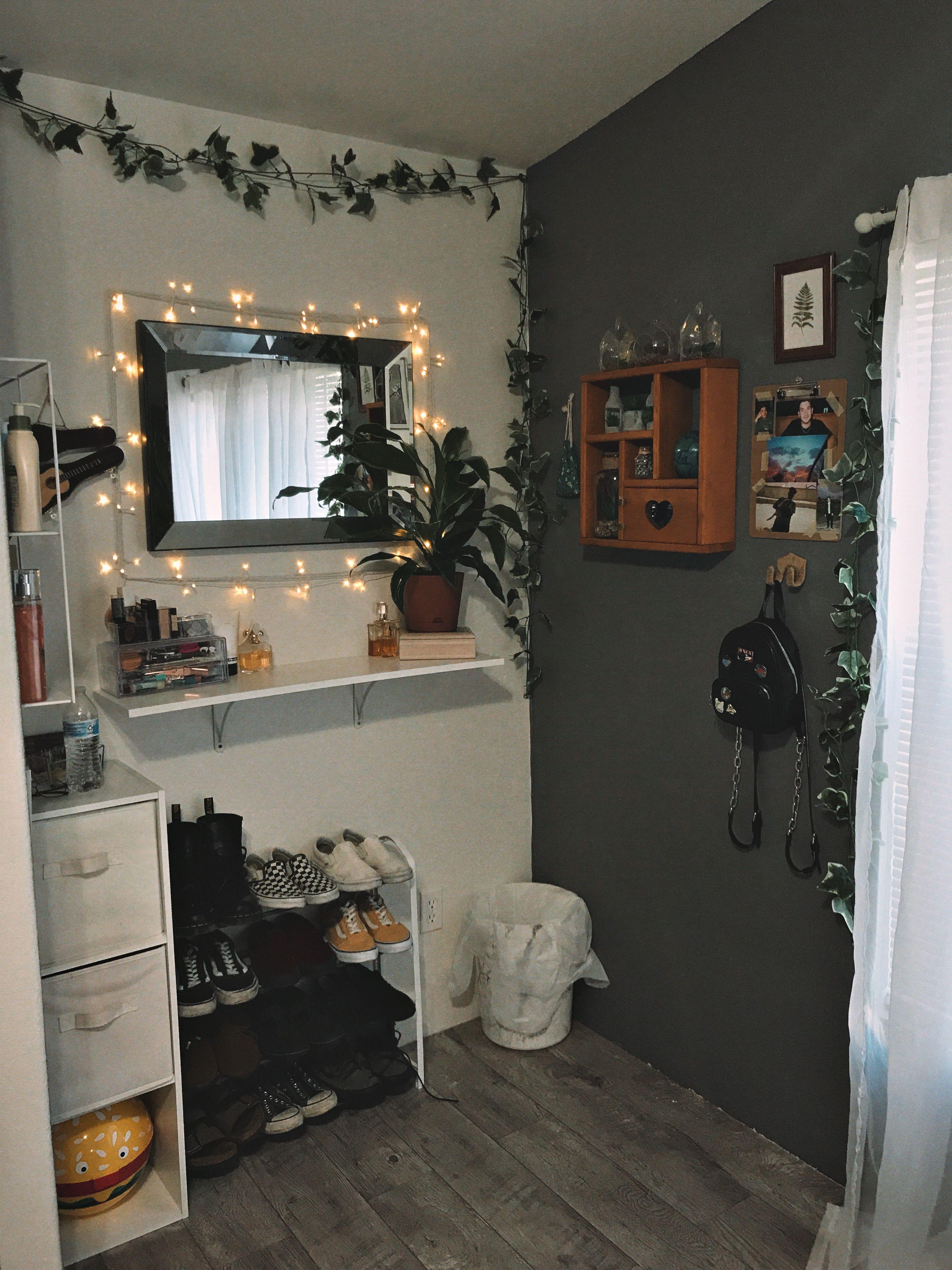 fairy lights, aesthetic, shelf, vanity, pictures, plants