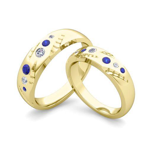 Matching Sapphire Diamond His And Hers Wedding Ring 18k White Gold