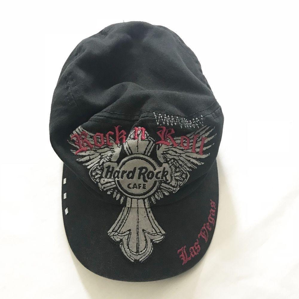 12f45585cd7 Hard Rock Cafe Las Vegas Womens Black Red Embroidered Rock N Roll Cap Hat   HardRockCafe