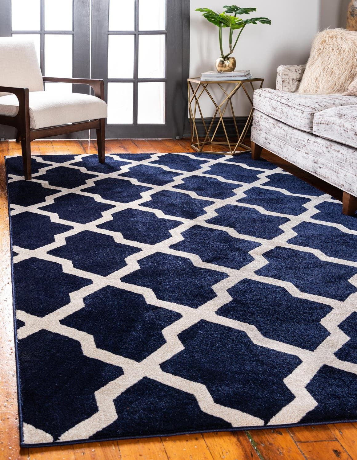 Lattice Navy Blue 3x5 Accent Rug In 2020 Large Area Rugs Area Rugs Navy Blue
