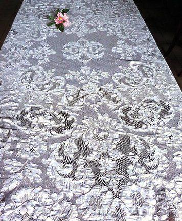 Beautiful Antique Point De Paris Lace Oval Tablecloth  Www.chantillydreams.com