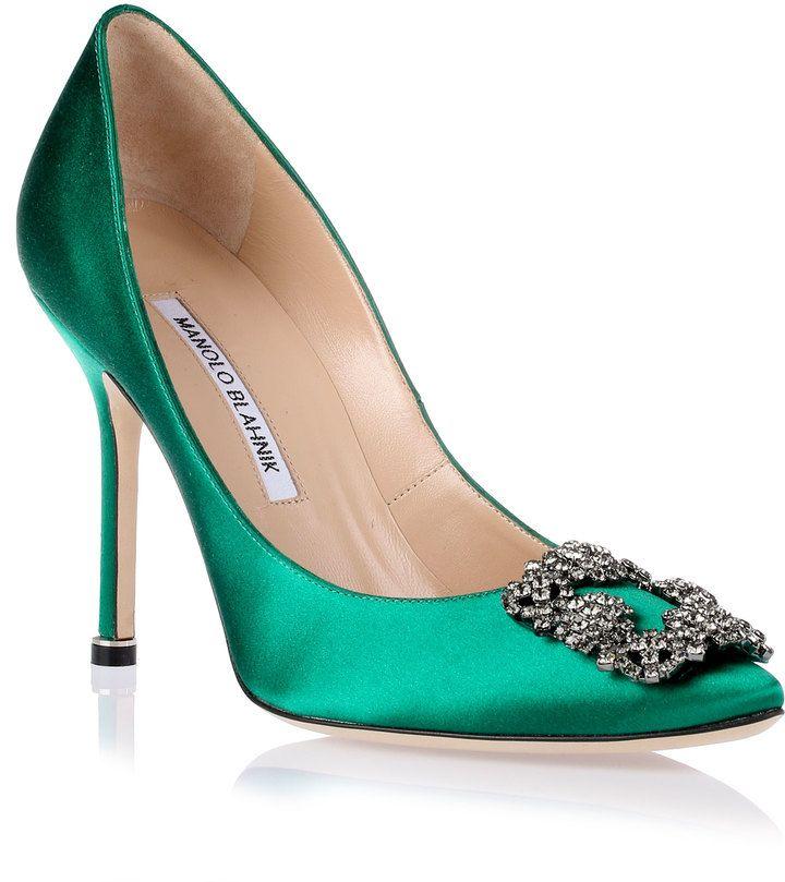 Manolo Blahnik Hangisi satin pump Emerald Green