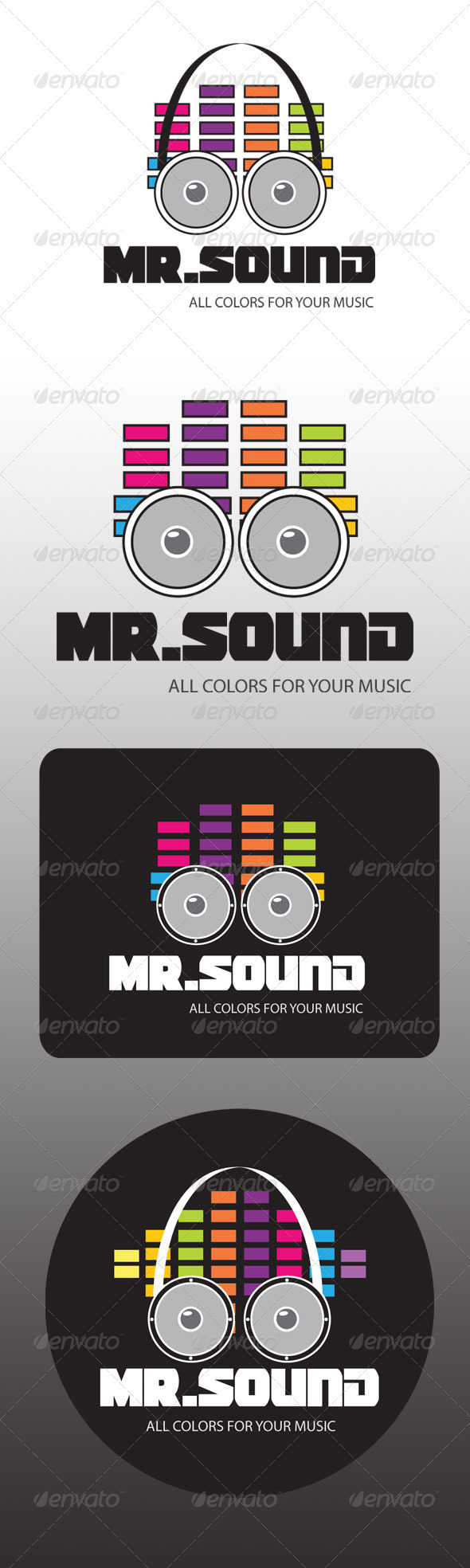 Mr Sound Audio Bar Buffer Color Disco Dj Set Equalize Man Music Statistic Realistic Photo Graphic Print Obejct Business Web