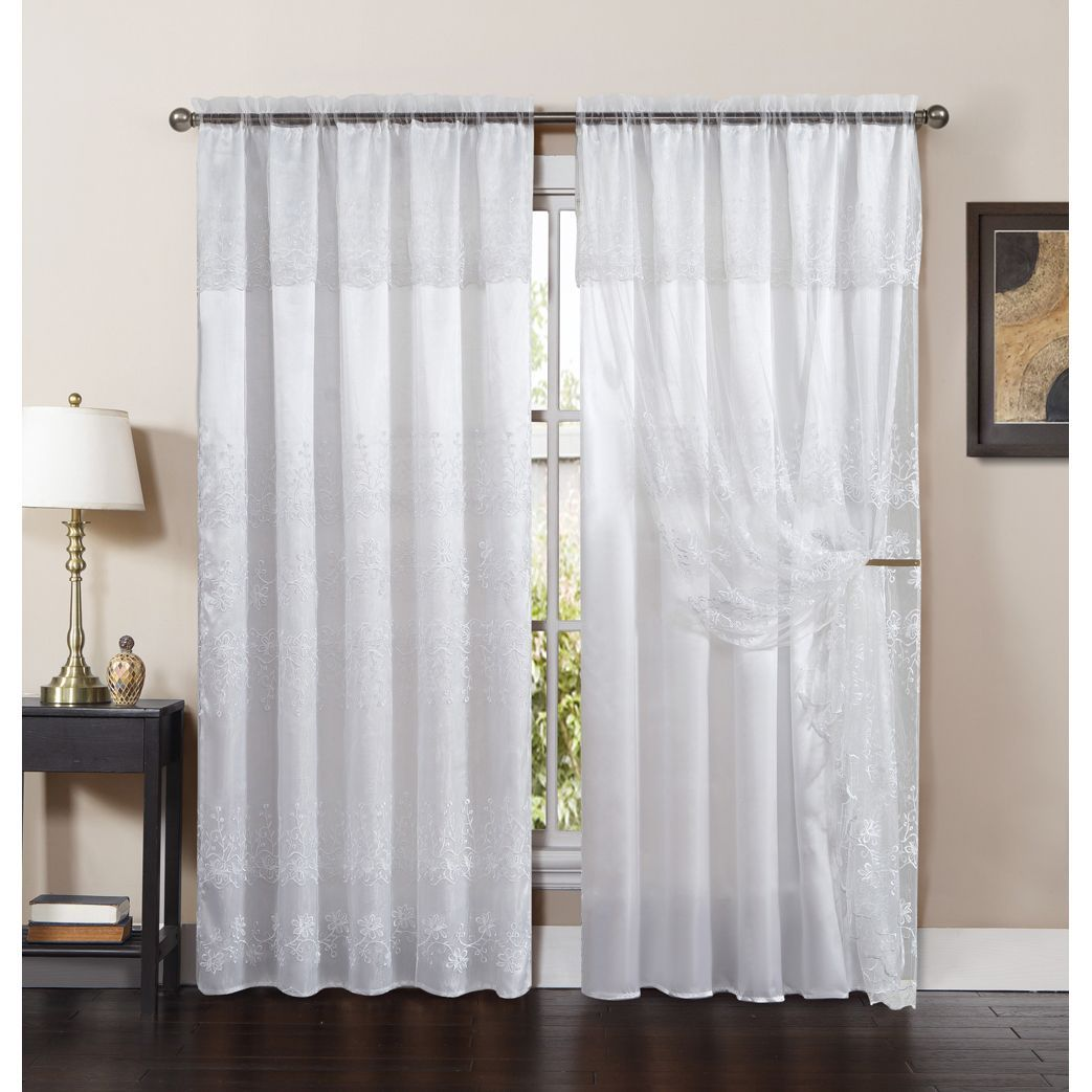 Vcny Lucy Embroidered Curtain Panel with Attached Valance and