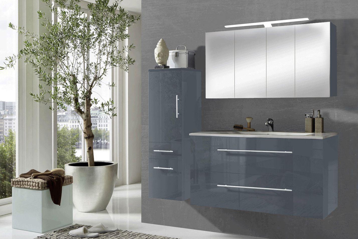 SAM® 3tlg. Badezimmer Set grau 120 cm Rom Spiegelschrank