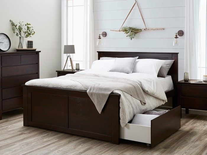 Hardwood Fantastic Queen Size Bed with Two Storage Drawers \u2013 Brown