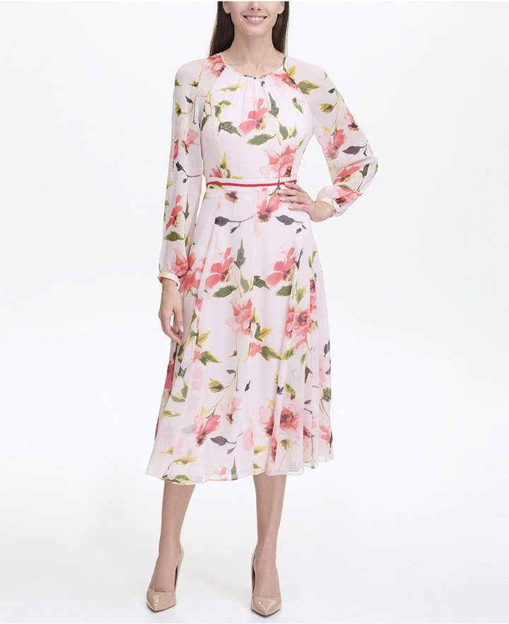 6bd7452ee0c Tommy Hilfiger Corsage Print Chiffon Midi Dress & Reviews - Dresses - Women  - Macy's