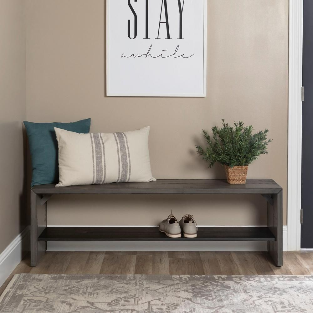 Walker Edison Furniture Company 58 in. Modern Farmhouse Wood Entryway Bench - Grey HD58ALPGY - The Home Depot