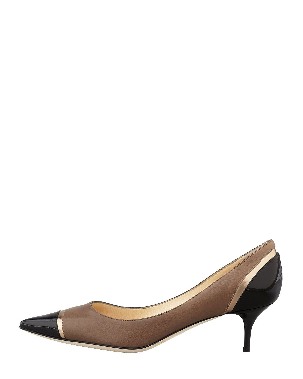 e44b7bc46d9d5 jimmy choo low heels | Jimmy Choo Womens Taupe Leap Mixed Media Pointed Toe  Low-Heel Pump