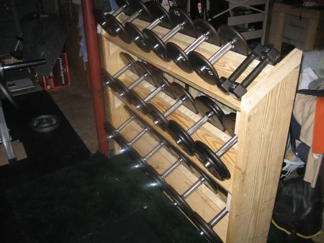 Wooden dumbbell rack plans cosmecol for Homemade weight rack plans
