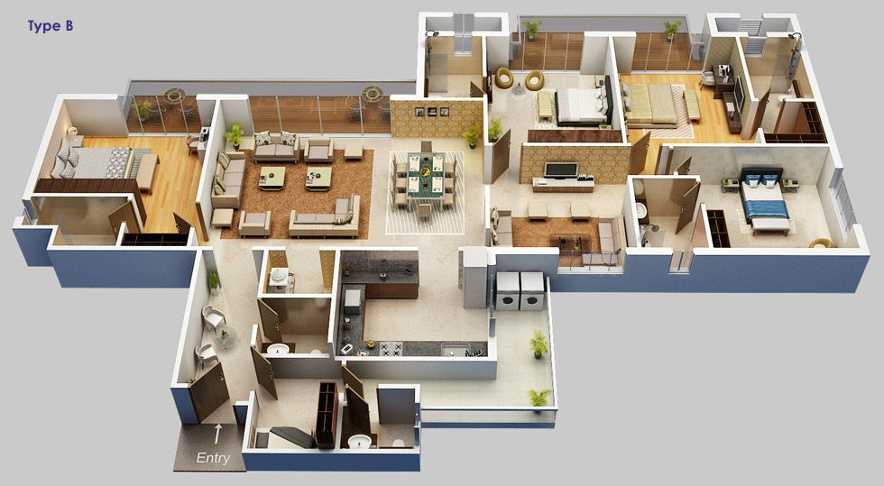 Kw group 1 2 3 bhk penthouses in raj nagar extension for Floor plan for 4bhk house