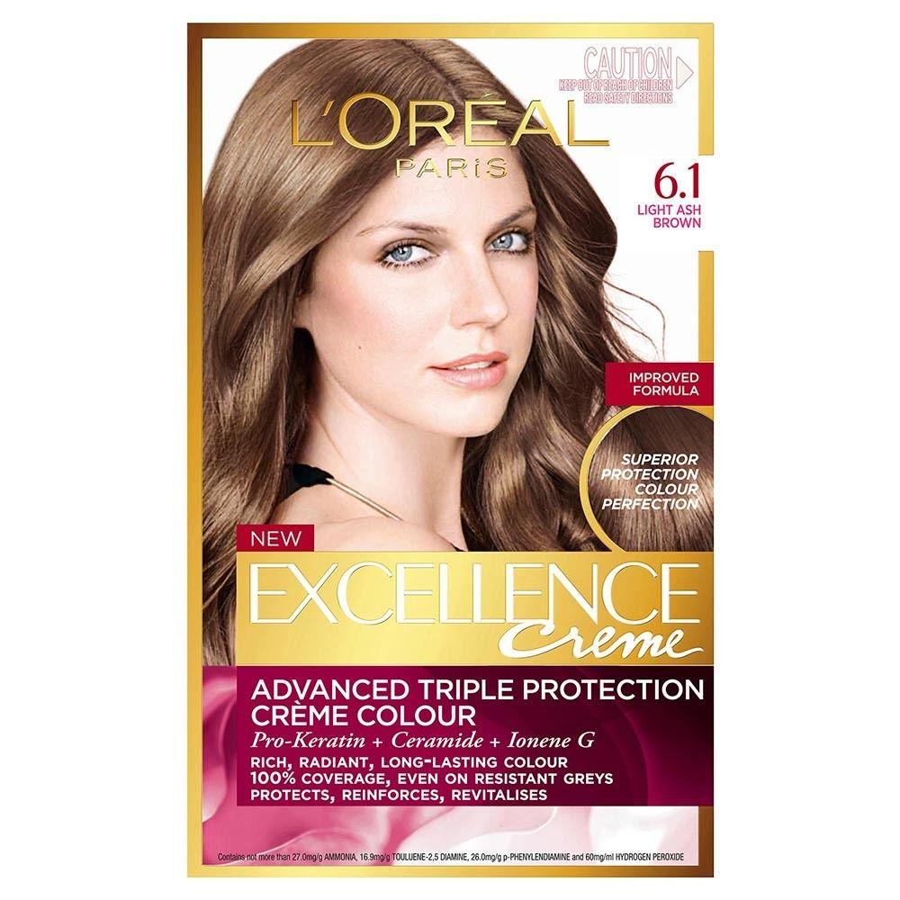 L Oreal Paris Excellence Creme 6 1 Light Ash Brown 1 Pack Dark Brown Hair Dye Brown Hair Dye Loreal Paris Hair Color