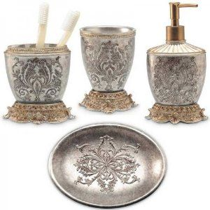 Lux Damask 4 Piece Bath Accessory Set (Antique Silver / Copper .