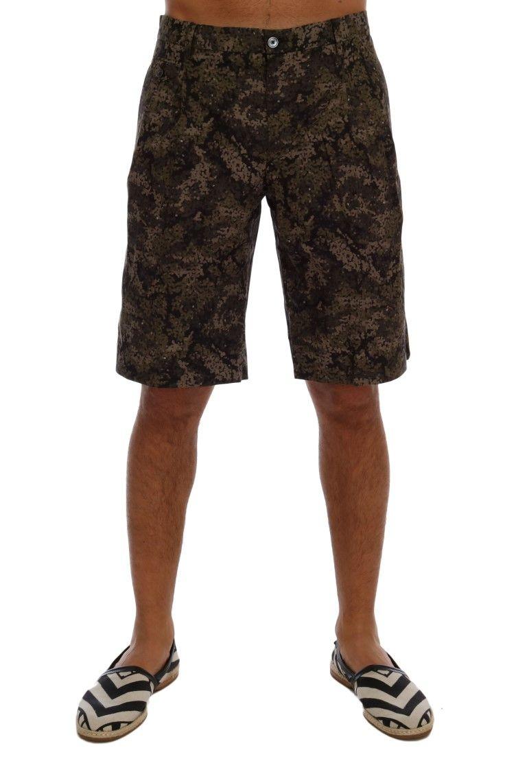 Dolce & Gabbana Black Green Cotton Military Pattern Shorts | Brands Vice