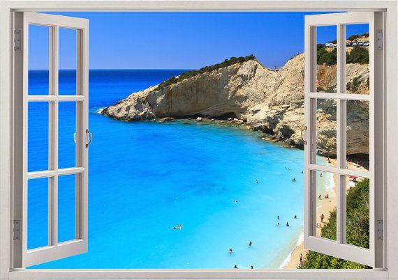 3d Large Wall Mural Wallpaper Hd Balcony Window Beach Sea: Beach Coast Wall Sticker 3D Window, Greece Beach Wall