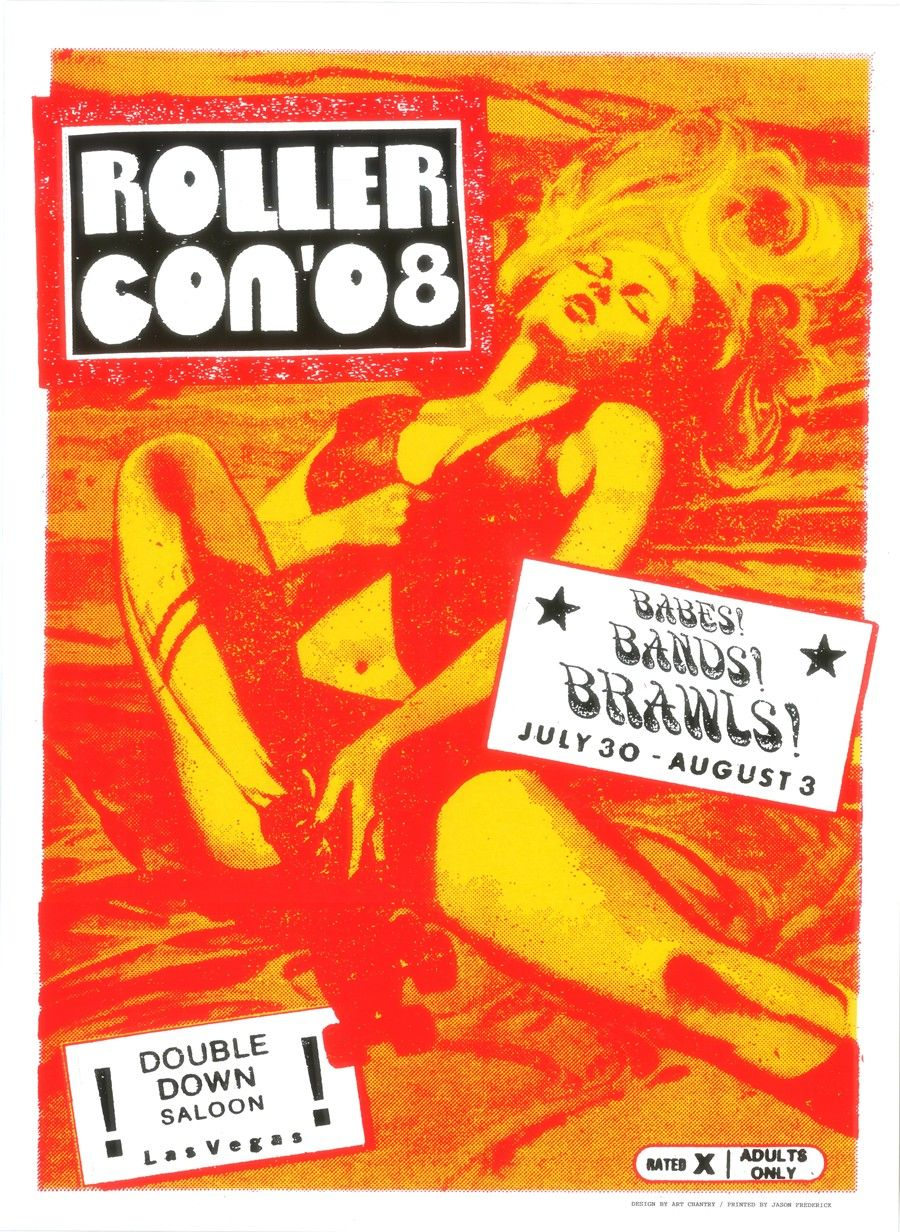 Art Chantry gig poster Rollercon 2008 Gig posters, Band