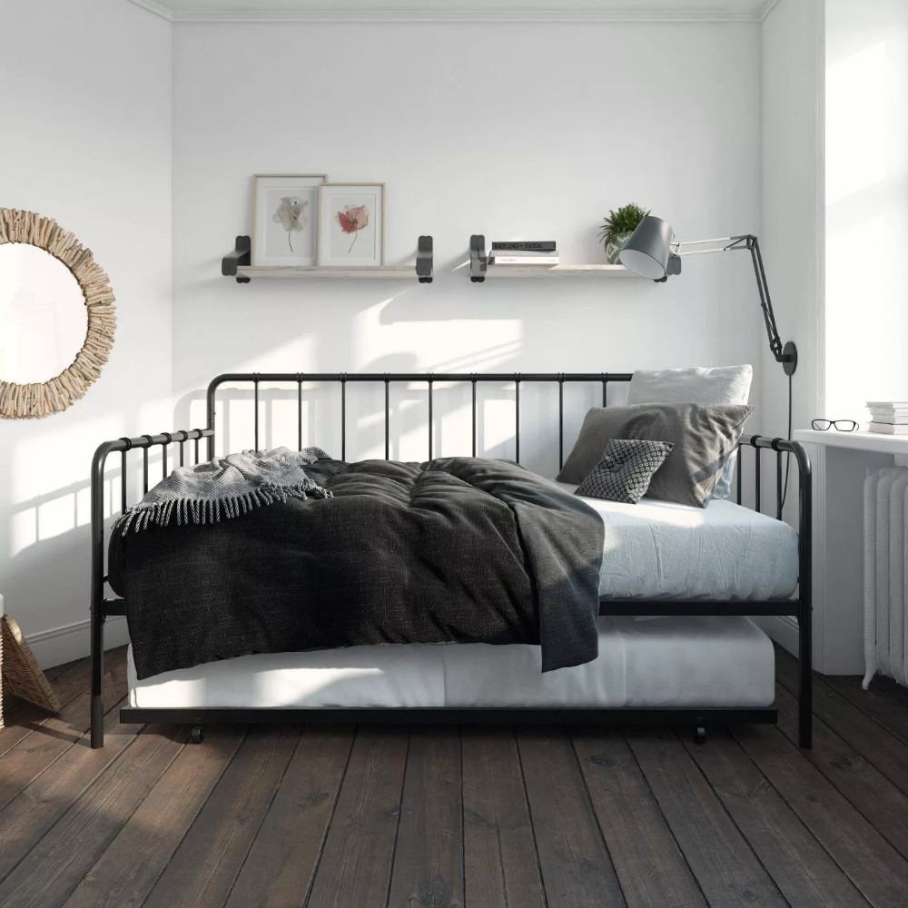Avery Metal Twin Daybed and Twin Trundle Black Room