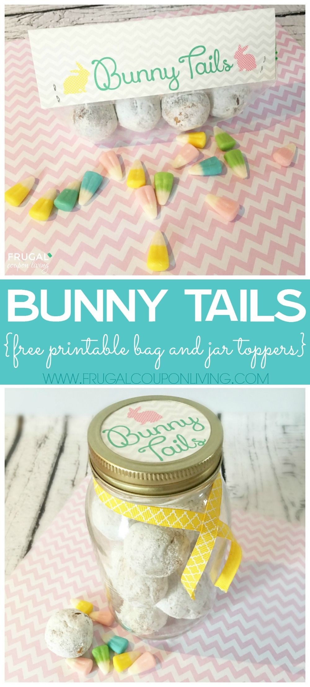 Easter Bunny Tails Printable - Bag Topper and Jar Topper. Great Easter craft. Perfect for a class or Teacher Easter Treat!  #bunnytails #bunnytailsprintable #printable #freeprintable #easter #easterprintables