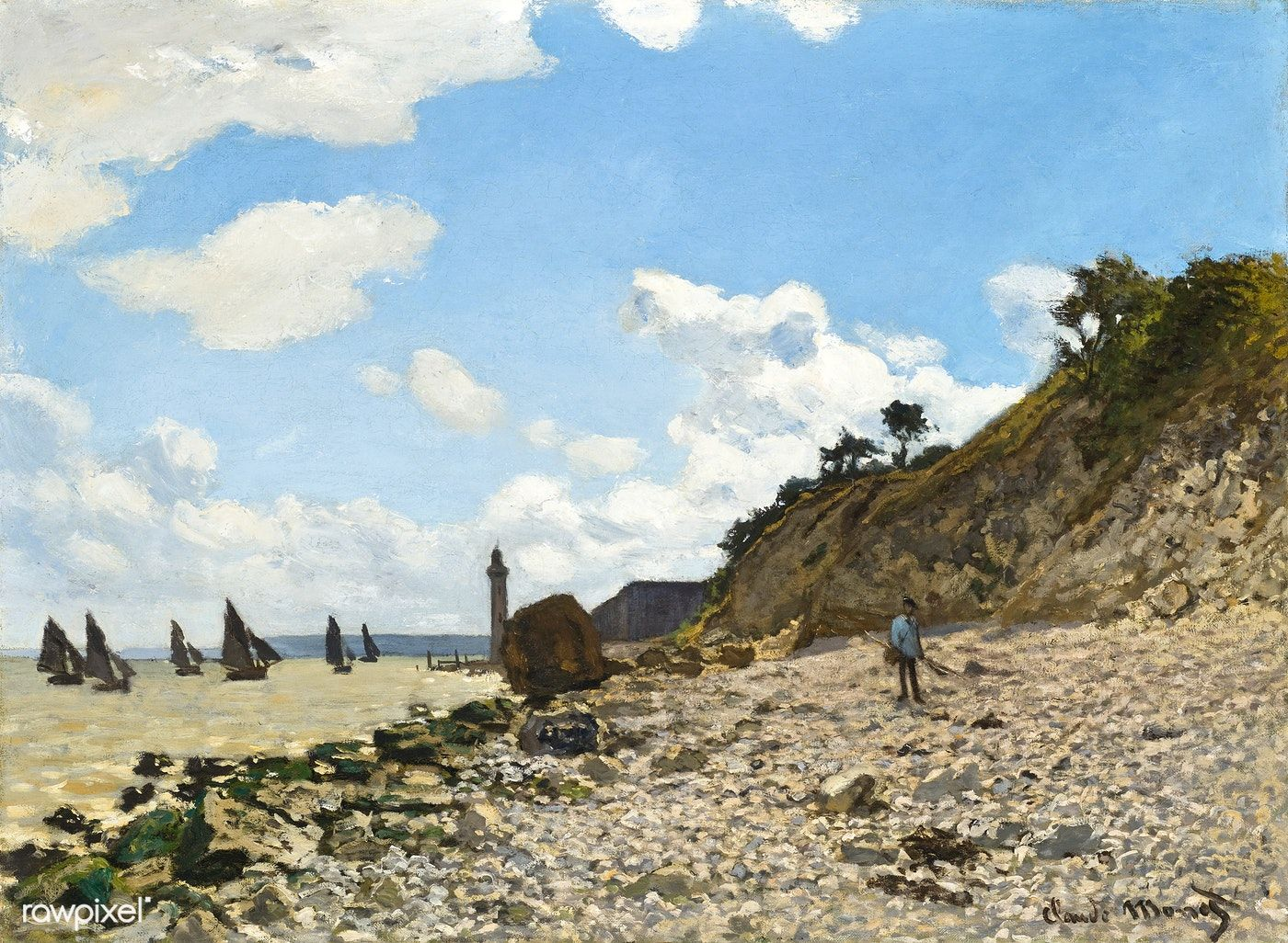 The Beach at Honfleur (1864–1866) by Claude Monet. Original from the  Los Angeles County Museum of Art. Digitally enhanced by rawpixel. | free  image by raw…