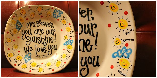 Bake a plate. I took paint pens and added names, details, polka dots, etc. I baked the plate for 30 minutes at 350*. Please note: I stuck the plate in the cold oven, set it at 350*, and started the 30 minute timer once the oven had preheated. #eceappreciationgiftideas