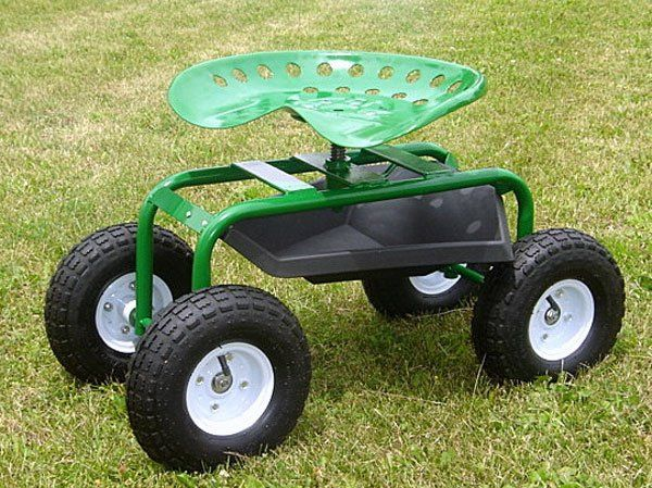 Mid West Garden Caddy Tractor Seat On Wheels Green