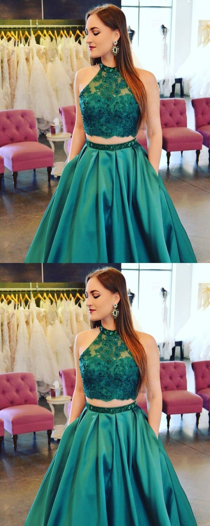 Two piece emerald green long prom dress with pockets long prom